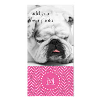 Hot Pink Chevron | Your Monogram Personalised Photo Card
