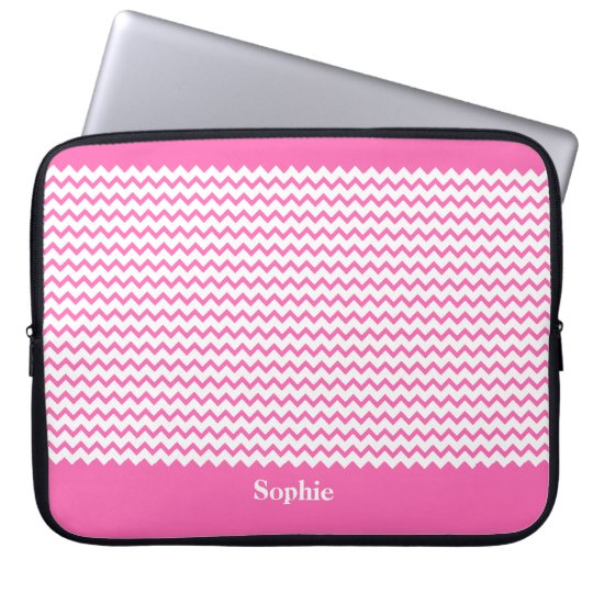 Hot Pink Chevrons Zig Zag Girly Neoprene Sleeve 15
