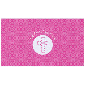 Hot Pink Christian Cross Zig-zag on White and Pink Tablecloth