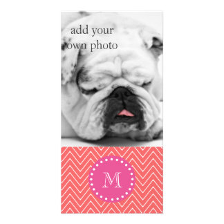 Hot Pink, Coral Chevron | Your Monogram Photo Card Template