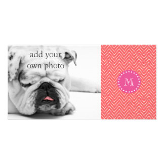 Hot Pink, Coral Chevron | Your Monogram Personalized Photo Card