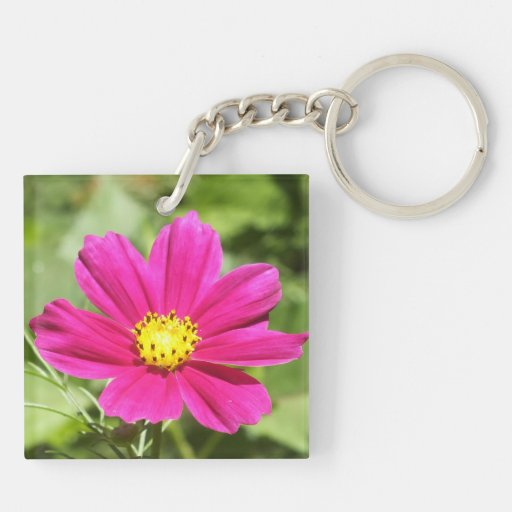 Hot Pink Cosmos Flower Keychain Acrylic Key Chains