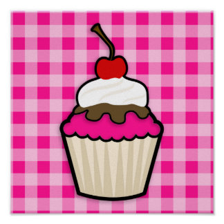 Hot Pink Cupcake Poster