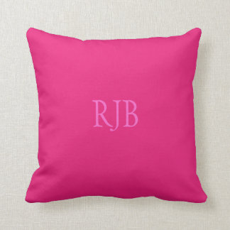 Hot pink custom initials monogram cushion pillow