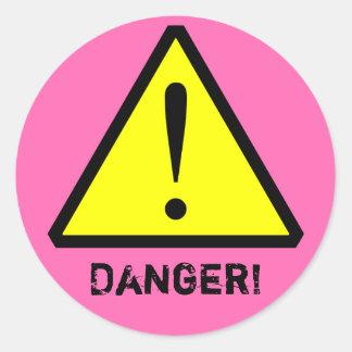 Hot Pink Customizable Warning Symbol Sticker