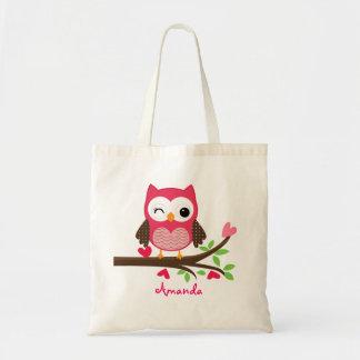 Hot Pink Cute Owl Girly Budget Tote Bag