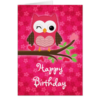 Hot Pink Cute Owl Girly Happy Birthday Greeting Card