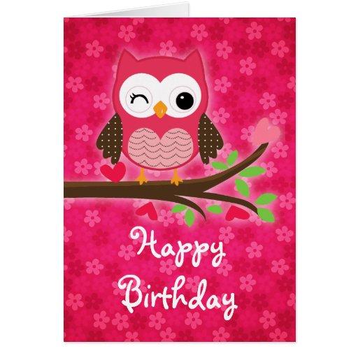 Hot Pink Cute Owl Girly Happy Birthday Greeting Card