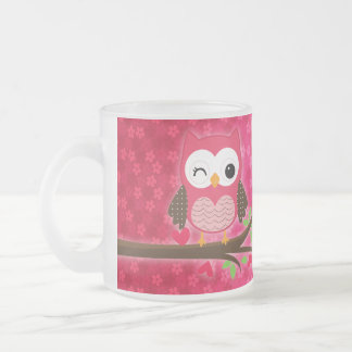 Hot Pink Cute Owl Girly Personalized Frosted Glass Coffee Mug