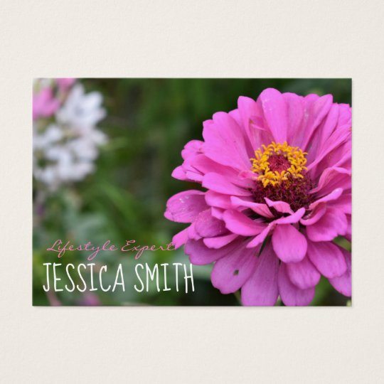 Hot Pink Dahlia Flower Floral Nature Photography Business Card
