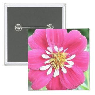 Hot Pink Dahlia Flower Pinback Button