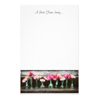 Hot Pink Daisies in Vases Customised Stationery