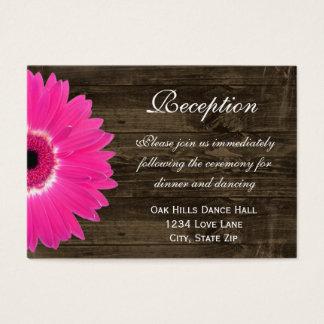 Hot Pink Daisy Wedding Reception Direction Card