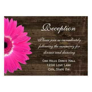 Hot Pink Daisy Wedding Reception Direction Card Pack Of Chubby Business Cards