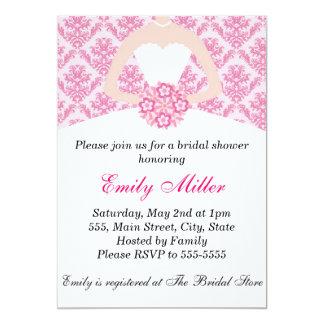 Hot Pink Damask Bridal Shower Flat Card Invitation