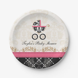 Hot Pink Damask Carriage Baby Shower 7 Inch Paper Plate