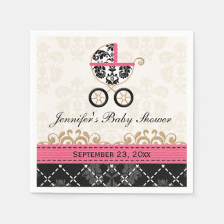 Hot Pink Damask Carriage Baby Shower Paper Napkin