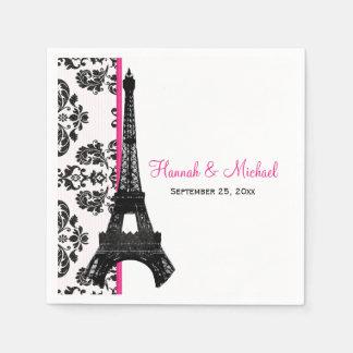Hot Pink Damask Eiffel Tower Wedding Paper Napkin
