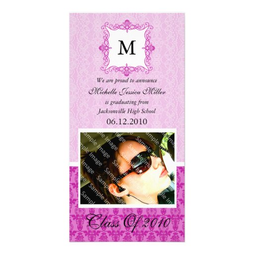 Hot Pink Damask Initial Graduation Photo Card