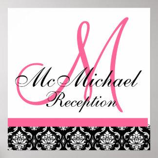 Hot Pink  Damask  Monogram Wedding Reception Poster