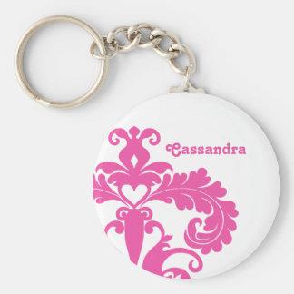 Hot pink damask on white personalized key ring