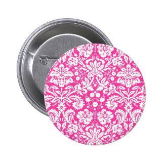 Hot pink damask pattern button