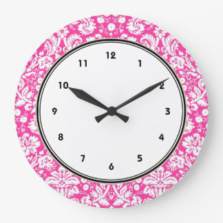 Hot pink damask pattern large clock