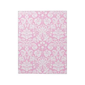 Hot pink damask pattern memo note pad