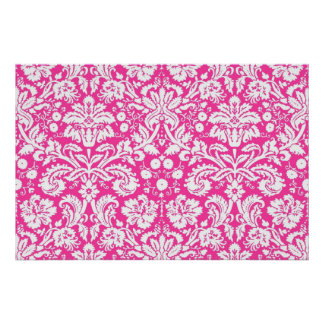 Hot pink damask pattern poster