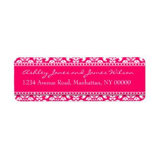 Hot Pink Damask Return Address Labels
