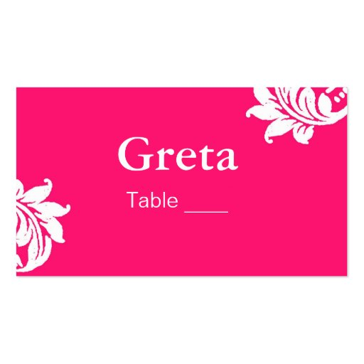 Hot Pink Damask Table Place Card Holders Business Card Template