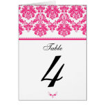 Hot Pink Damask Table Seating Number Card