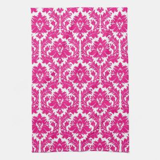 Hot Pink Damask Tea Towel