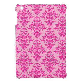 Hot pink damask vintage chandelier pattern iPad mini covers