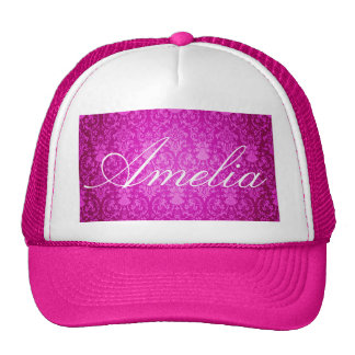 Hot pink,damask,vintage,pattern,girly,trendy,chic trucker hat