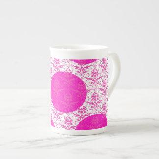 Hot Pink Damask with Pink Polka Dots Porcelain Mug
