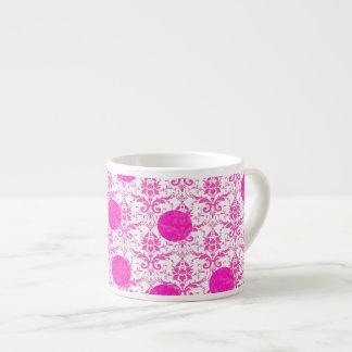 Hot Pink Damask with Pink Polka Dots Espresso Mugs
