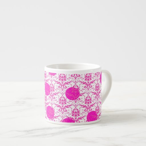 Hot Pink Damask with Pink Polka Dots Espresso Mugs