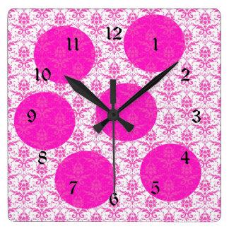 Hot Pink Damask with Pink Polka Dots Square Wall Clock