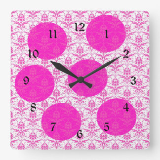 Hot Pink Damask with Pink Polka Dots Wallclock