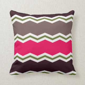 Hot Pink, Dark Brown, Taupe, and Green Chevron Cushion