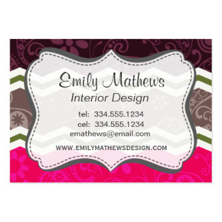 Hot Pink, Dark Brown, Taupe, and Green Paisley Business Card Template