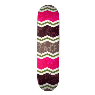 Hot Pink, Dark Brown, Taupe, and Green Paisley Skateboard Decks