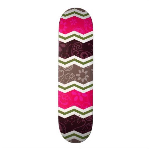 Hot Pink, Dark Brown, Taupe, and Green Paisley Skateboard Decks
