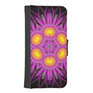Hot pink day glow kaleidoscope iPhone wallet case