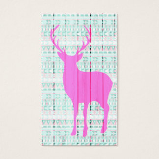Hot Pink Deer Aztec Wood Business Card