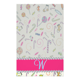 Hot Pink Diamond Candy Cane Monogram Stationery Design