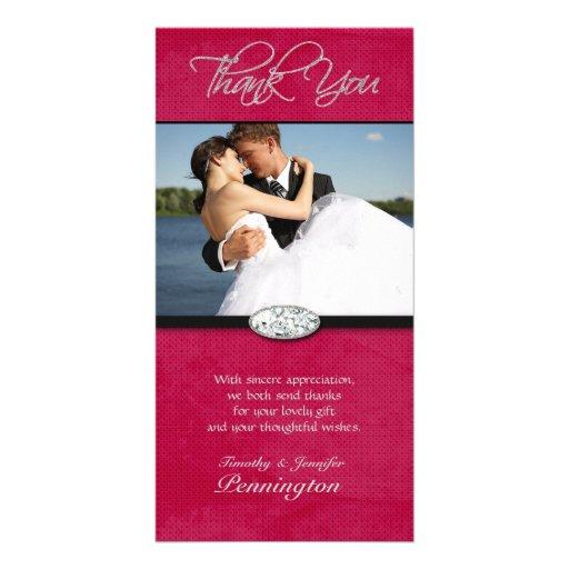 Hot pink diamond wedding thank you photocard custom photo card