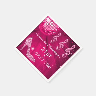 Hot Pink Disco Ball and Sparkle Heels 21st Paper Napkin