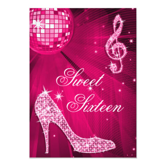 Hot Pink Disco Ball and Sparkle Heels Sweet 16 13 Cm X 18 Cm Invitation Card